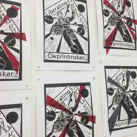 Liberating Language print show by Caroline Wilkins