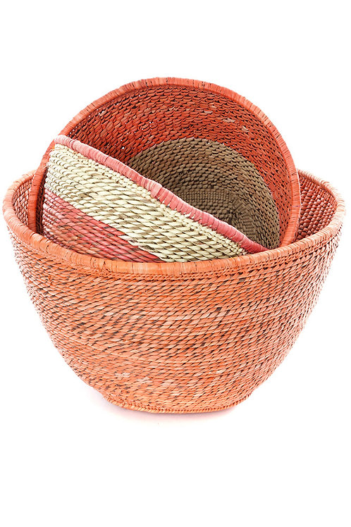 Set of Three Nesting Zambian Table Baskets in Salmon & Natural