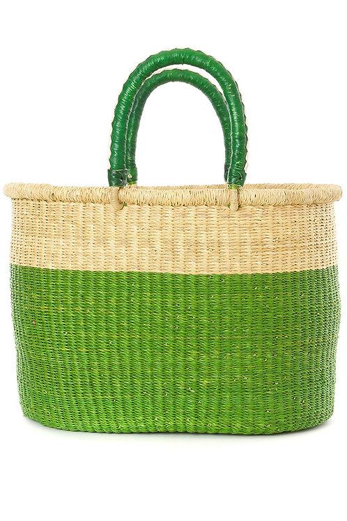 Cilantro Color Block Bolga Shopper with Leather Handles