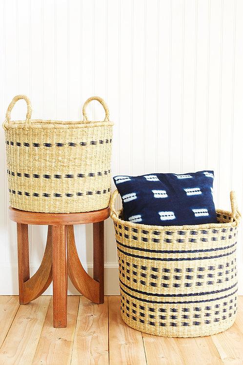 Set of Two Raven Flecked Elephant Grass Baskets