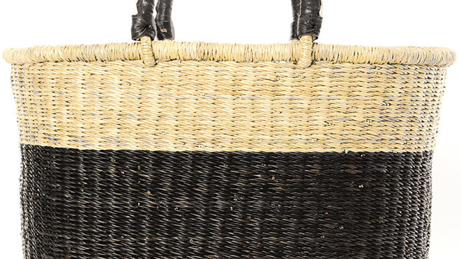 Blackberry Color Block Bolga Shopper with Leather Handles