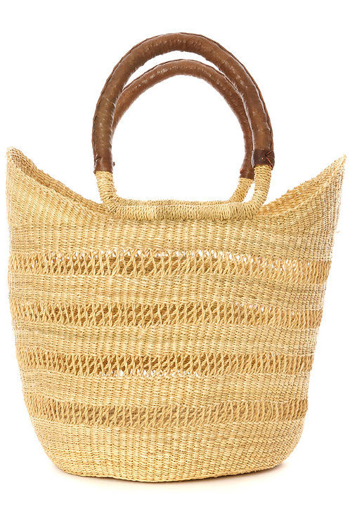 Natural Ghanaian Lacework Wing Shopper with Brown Leather Handles