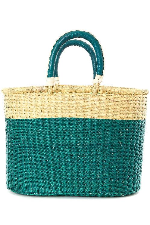 Curaçao Color Block Bolga Shopper with Leather Handles