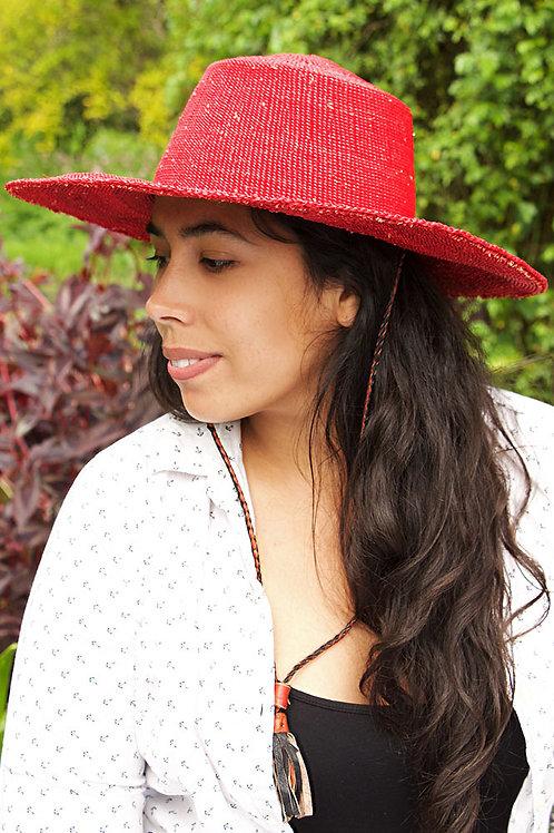Ghanaian Red Straw Sun Hat