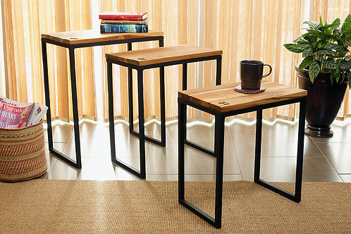 Set of Three Ghanaian Nesting Tables with Brass Sankofa Symbols