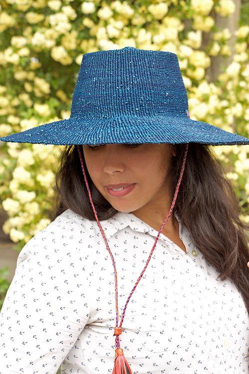 Ghanaian Blue Straw Sun Hat