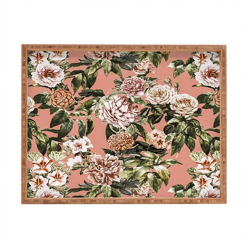 Wild Rose Meadow Blooming Large Wood Tray