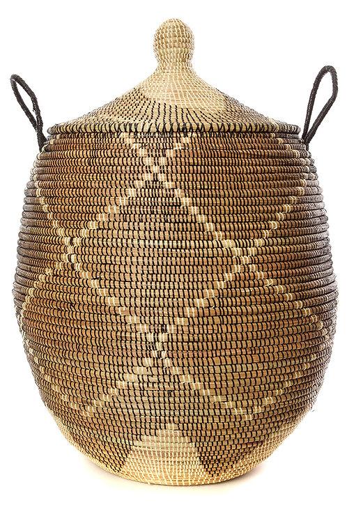 Large Black and Cream Diamonds Laundry Hamper Basket