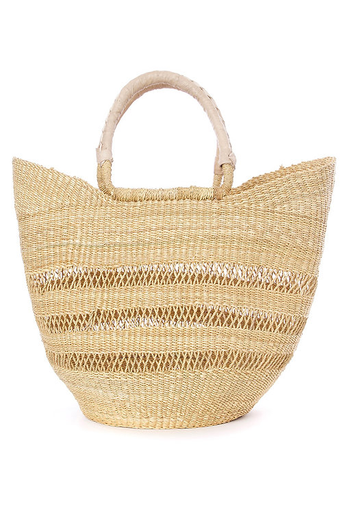 Natural Ghanaian Lacework Wing Shopper with Dye-Free Leather Handles