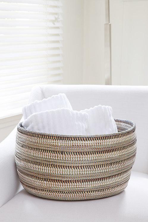 Black, Silver & White Striped Basket