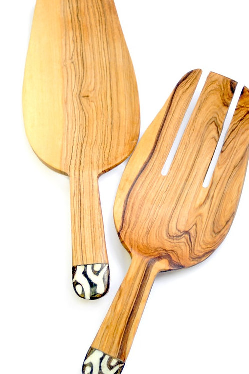 Wild Olive Wood and Dyed Bone Salad Scoops