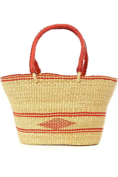 Ghanaian Red Diamond Shopper with Leather Handles