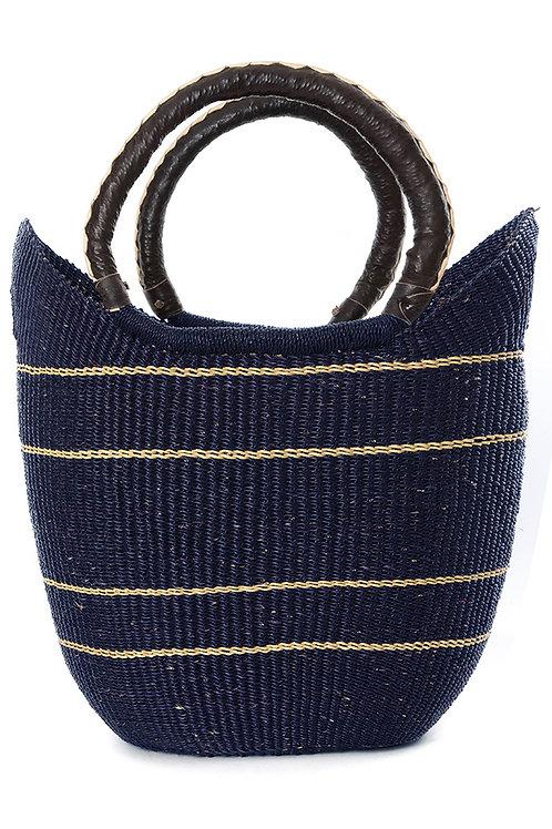 Midnight Blue Pinstripe Bolga Shopper with Leather Handles