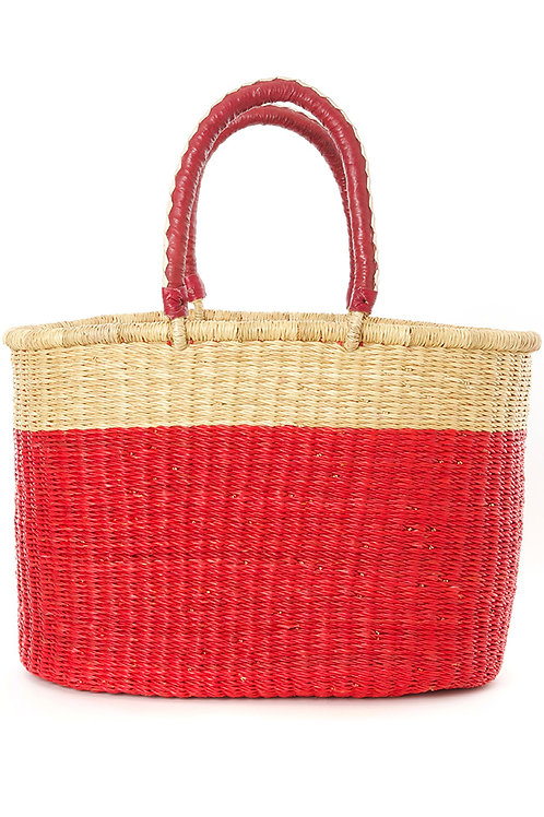 Cherry Color Block Bolga Shopper with Leather Handles