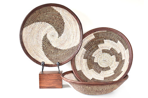 Brown and White Leather Trimmed Baskets in Assorted Patterns