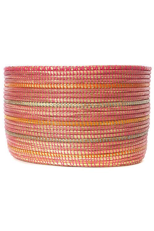 Sunrise Stripe Knitting Basket