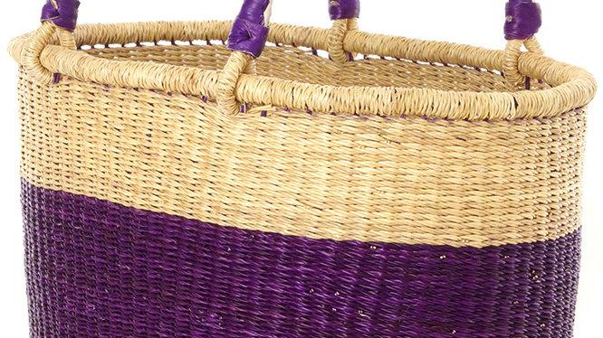 Aubergine Color Block Bolga Shopper with Leather Handles