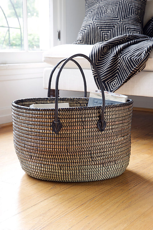 Black Oval Knitting Basket with Black Leather Handles