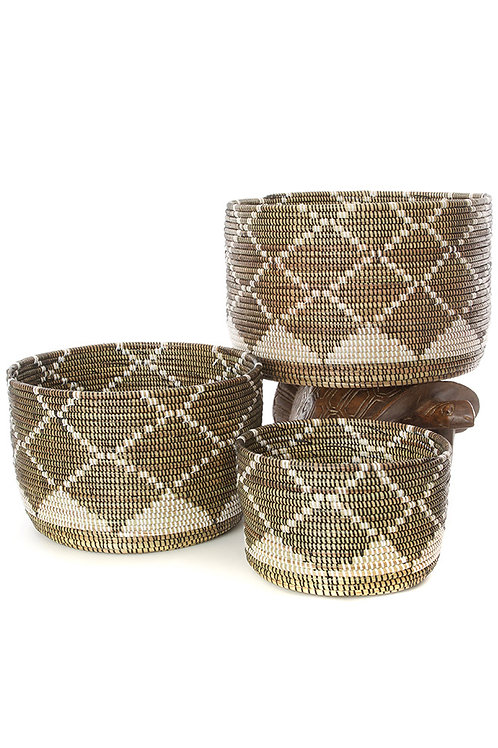 Set/3 Nesting Diamond Design Baskets