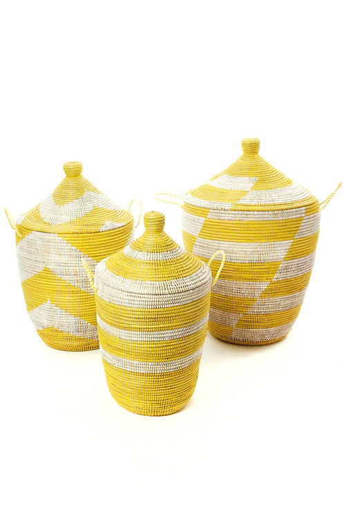 Set of Three Yellow and White Mixed Pattern Hampers