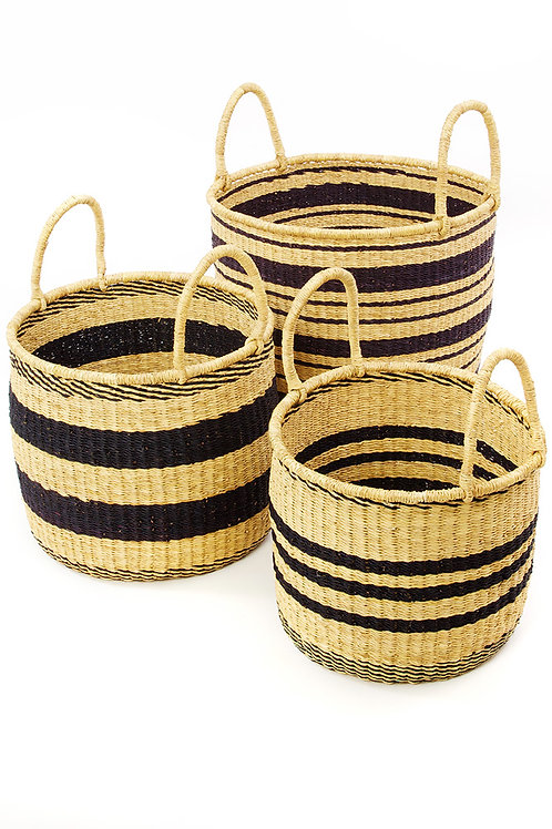 Set of Three Striped Elephant Grass Nesting Hampers