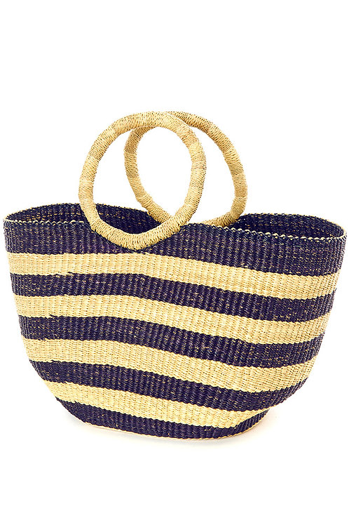 Nautical Blue Striped Shopper with Loop Handles