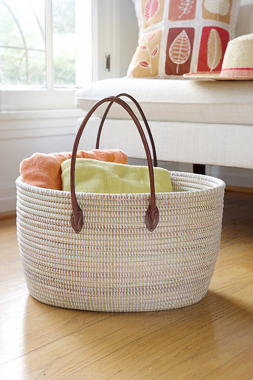 White Oval Knitting Basket with Brown Leather Handles