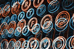 Neon Typewriter Keys