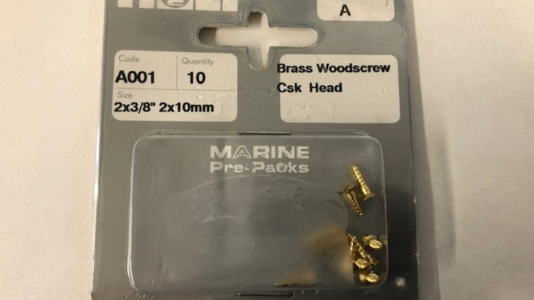 "Brass Woodscrew Countersunk Head 2 x 3/8"""