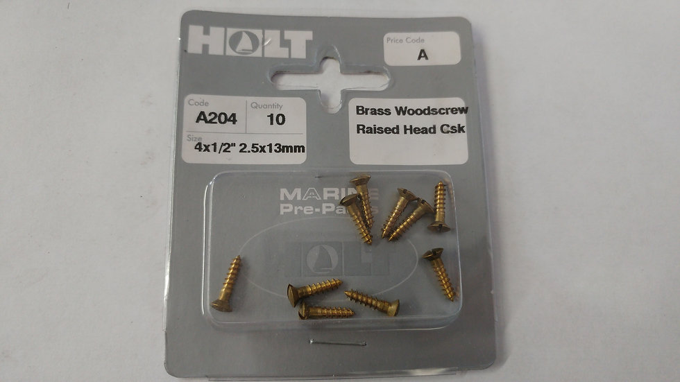 Brass Raised Head Countersunk Slotted Woodscrews