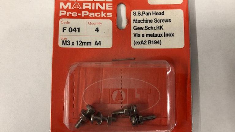 A4 S/S Pan Head Slotted Machine Screws