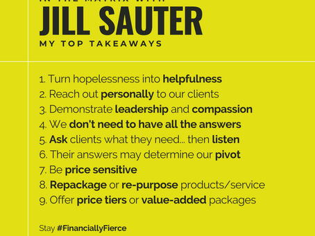 MY TOP TAKEAWAYS | JILL SAUTER