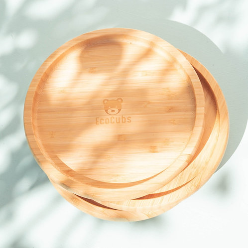 Eco Cubs | Grey Bamboo Suction Plate