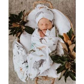 Safari | Baby Jersey Wrap & Beanie Set