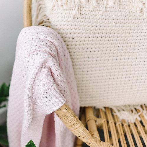 Snuggle Hunny | Blush Pink Diamond Knit Baby Blanket