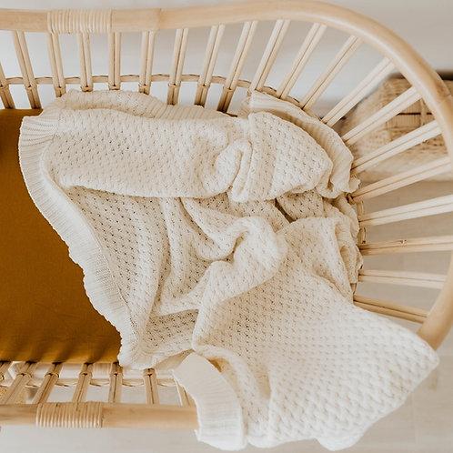 Snuggle Hunny I Cream Diamond Knit Baby Blanket