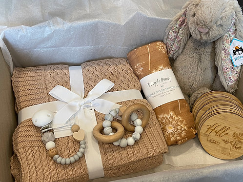 Ultimate Baby Shower Gift Box - Beige Blossom Bunny