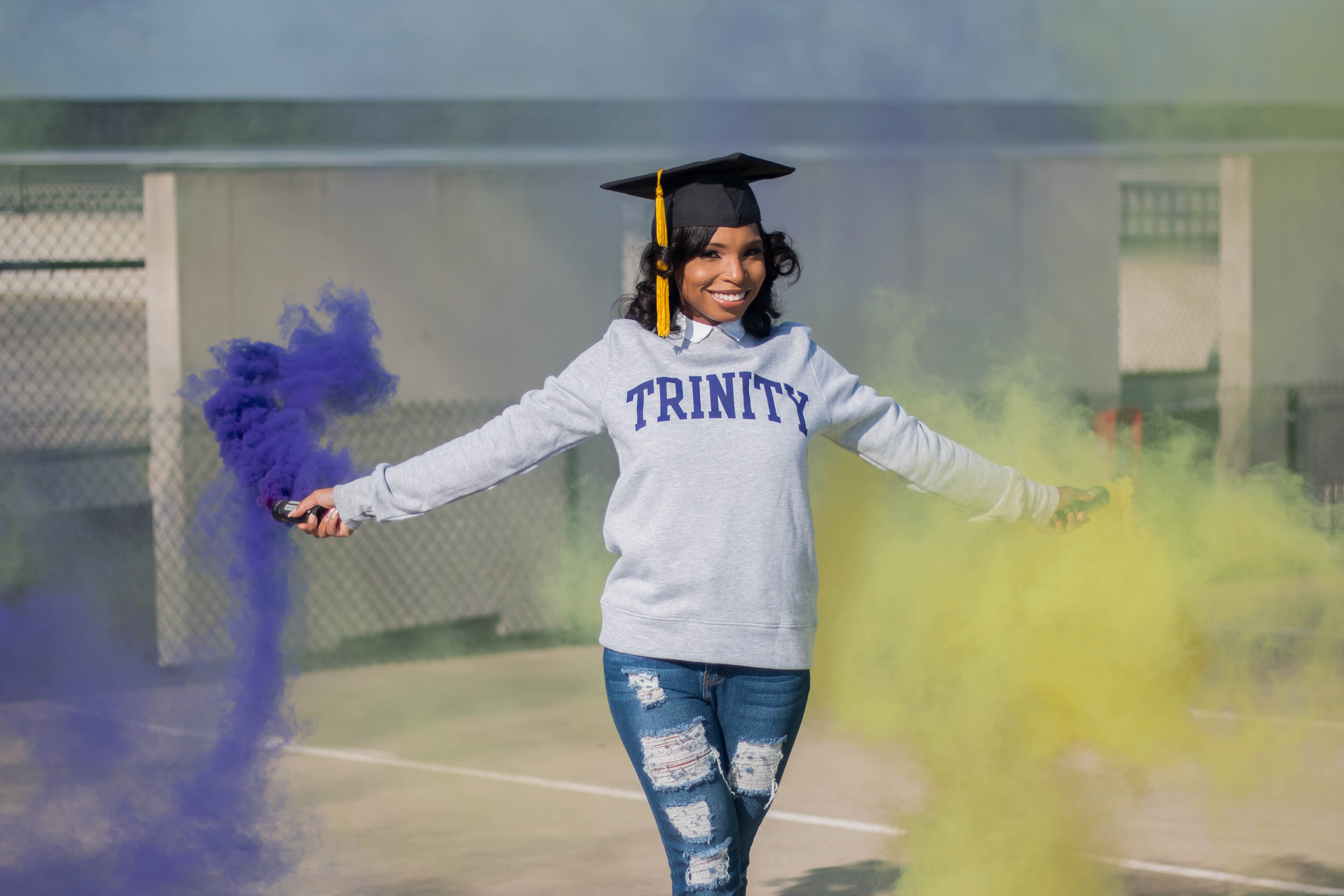College Grad Posing w/ Colored Smoke