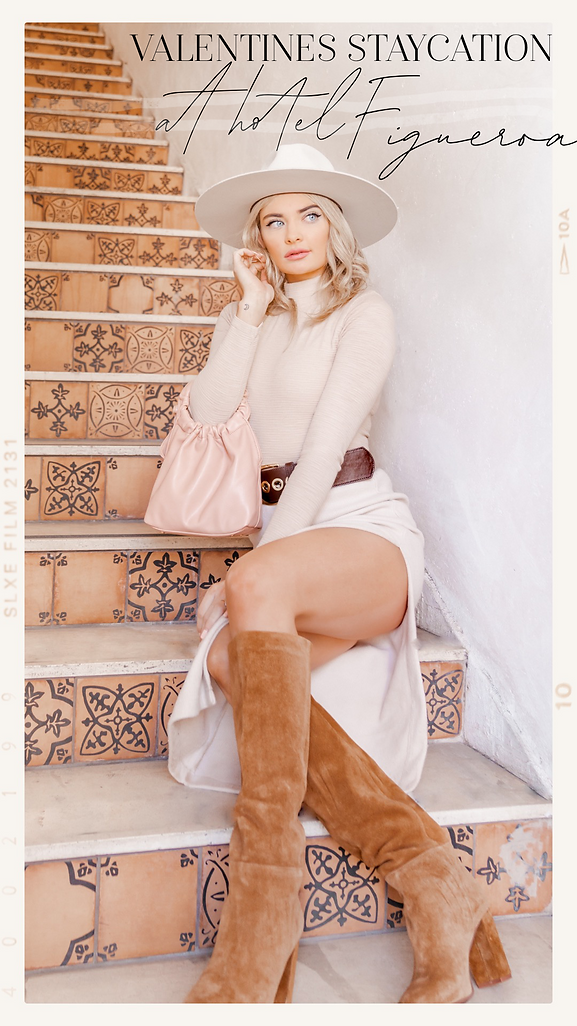 lady modeling on stairs