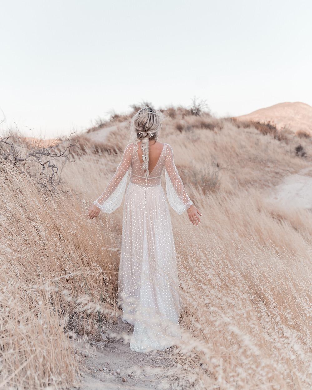 Bohemian bride boho wedding inspiration BHLDN