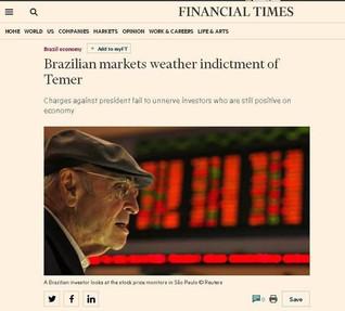 'Financial Times': Investidores apostam que crise política não desestabilizará economia