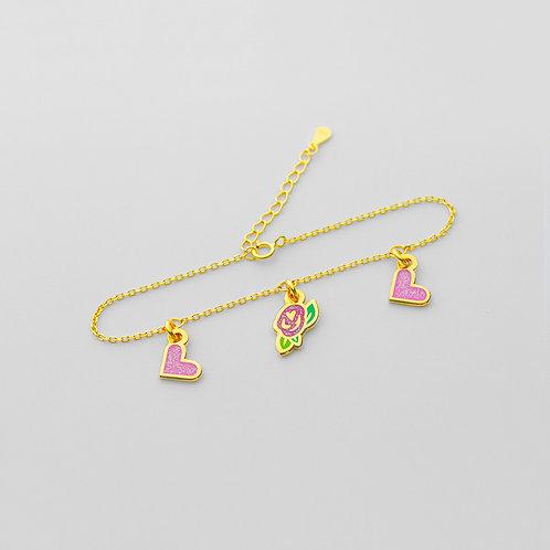 Love + Roses Bracelet (3 Charms)