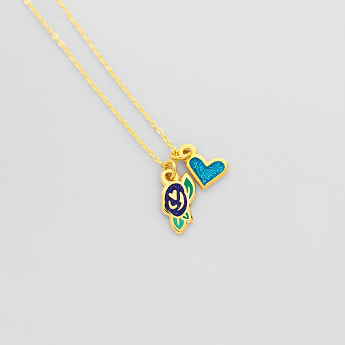 Love + Roses Necklace (2 Charms)