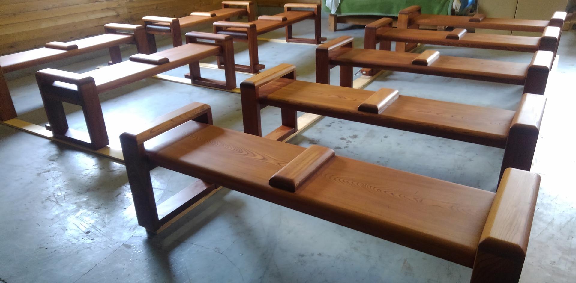 欅一枚板座面のベンチ