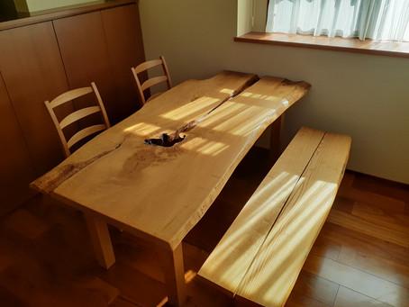 栗(くり)ダイニングテーブルとベンチ