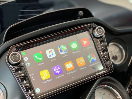 "Harley Davidson customized with an android 9"" touchscreen and serious sound system by street Beat!"