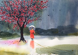 Spring-Rain Pink-Blossoms Red-Dress