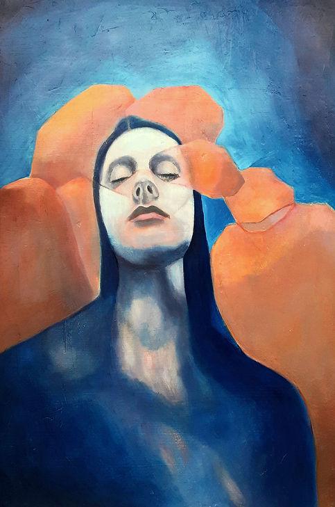self-portrait, portrait, painting, woman, lena sheridan, art