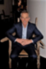 Tony Blair in driftwood chair by Silas Birtwistle