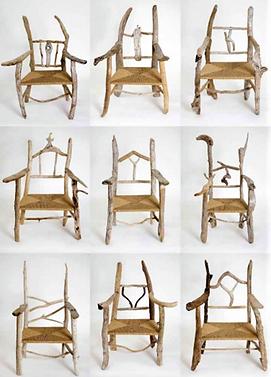 Nine driftwood chairs